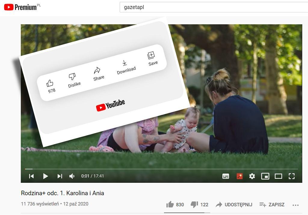 Ukryty licznik łapek w dół na YouTube
