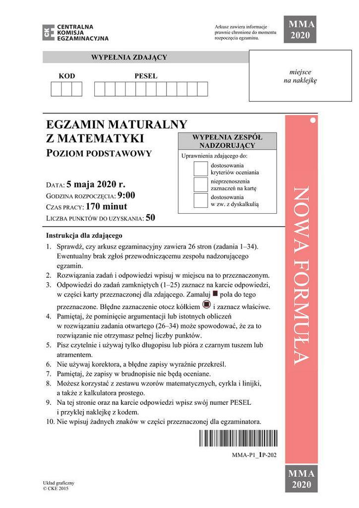 Matura 2020. Arkusz matematyka poziom podstawowy - str. 1