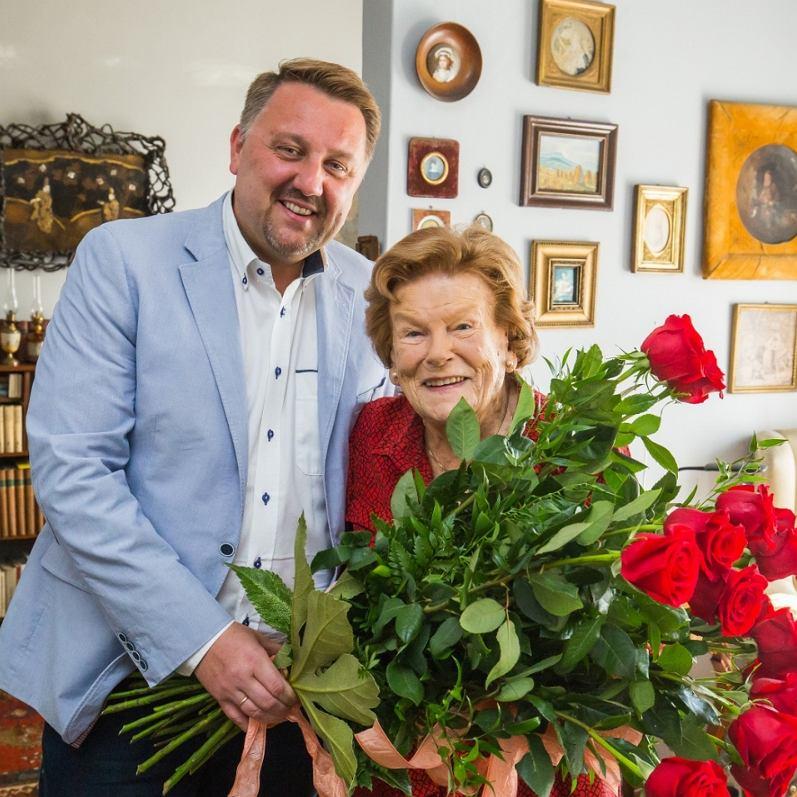 Maria Koterbska i prezydent Jarosław Klimaszewski