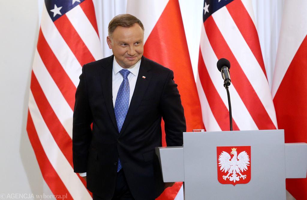 15.08.2020, Warszawa, Pałac Prezydencki, Andrzej Duda podczas podpisania układu o wzmocnieniu współpracy wojskowej między USA a Polską.