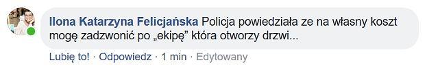 Post z Facebooka Ilony Felicjańskiej