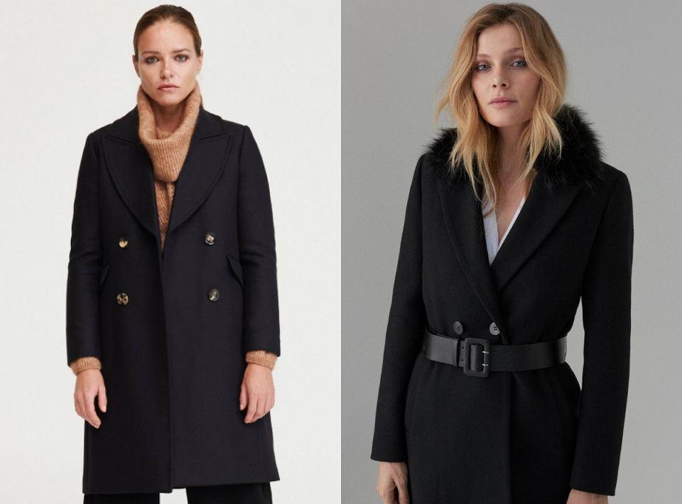 Czarne płaszcze z wełną