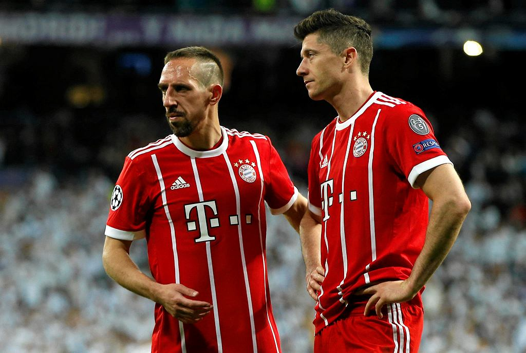 Bayern's Franck Ribery, left, and Robert Lewandowski