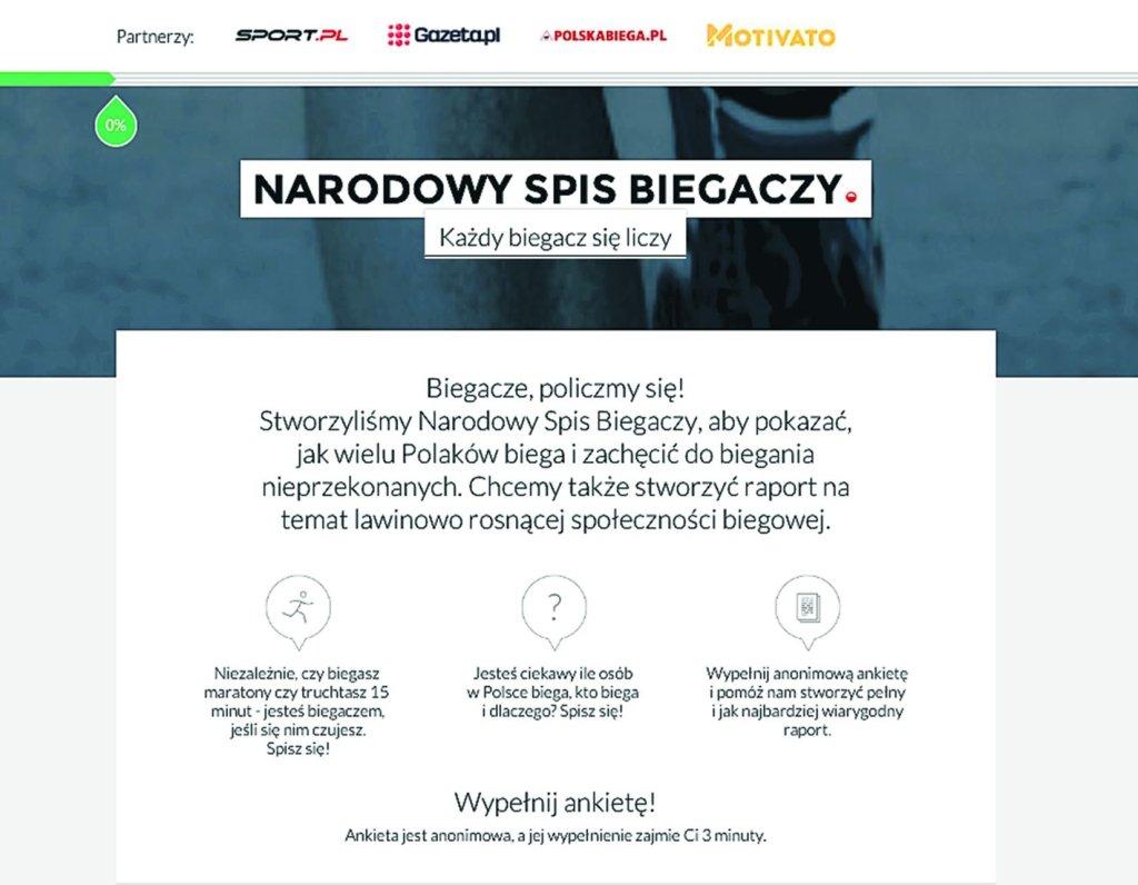 Strona Narodowego Spisu Biegaczy 2014