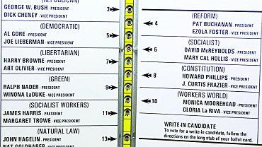 W 2000 r. w czasie wyborów prezydenckich w USA w hrabstwie Palm Beach (Floryda) nazwiska kandydatów na karcie wydrukowano w dwóch kolumnach, a okienka do głosowania - w jednej, pośrodku. Kandydat Demokratów Al Gore był drugi na liście, ale głosowało się na niego, skreślając trzecie okienko. Wielu głosujących nie zrozumiało tego systemu. Gore mógł w ten sposób stracić kilka tysięcy głosów i być może również szansę na fotel prezydencki