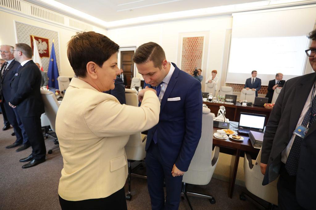 24.08.2017 Warszawa , KPRM . Premier Beata Szydło i wiceminister sprawiedliwości Patryk Jaki podczas posiedzenia rządu .