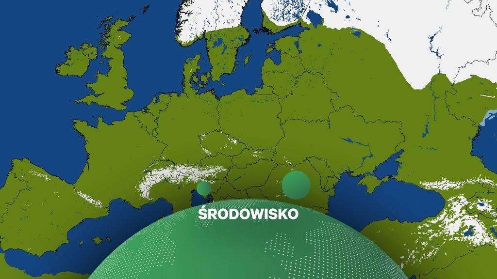 Mapa pokrywy śnieżnej w Wigilię 2019 roku w Europie