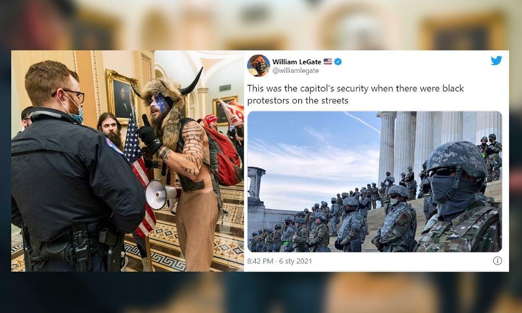 Szturm na Kapitol i policja chroniąca budynek podczas strajku Black Lives Matter - porównanie