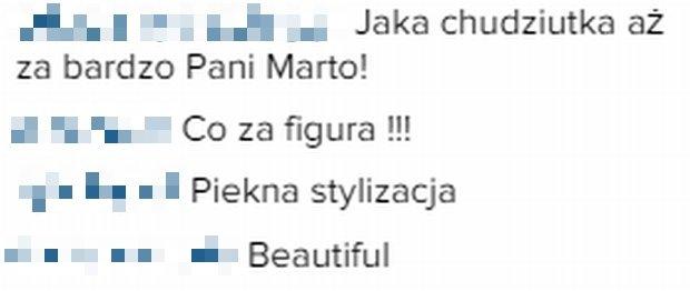 Komentarze fanów Marty Grycan na Instagramie.