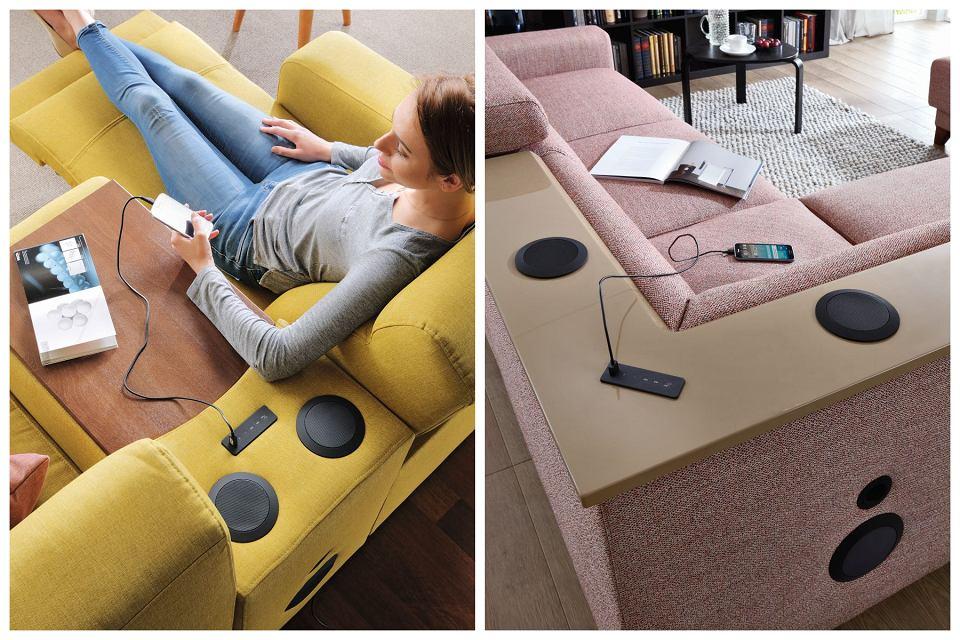 Po lewej: Sofa wypoczynkowa Capitol. Po prawej: Narożnik Kelly z systemem audio.
