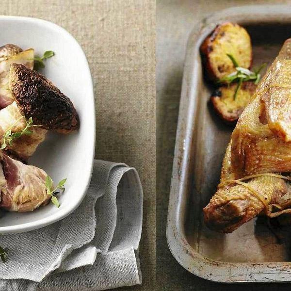 Bataty z patelni, Pieczony kurczak w sosie czosnkowym, Borowiki zapiekane z boczkiem
