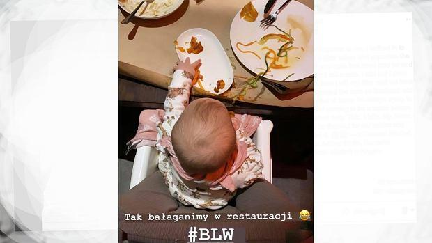 Agnieszka Kaczorowska zabrała dziecko do restauracji. Pokazała, czym się kończy BLW: Bałaganimy