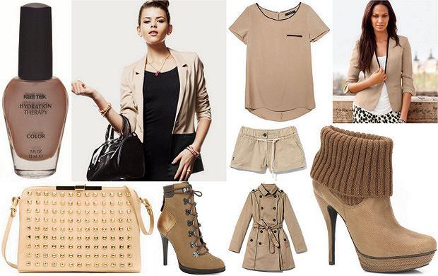 Beżowe ubrania i dodatki