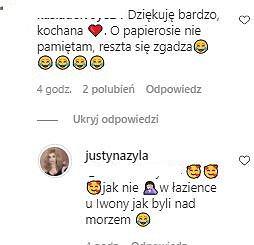 Komentarze na Instagramie Justyny Żyły