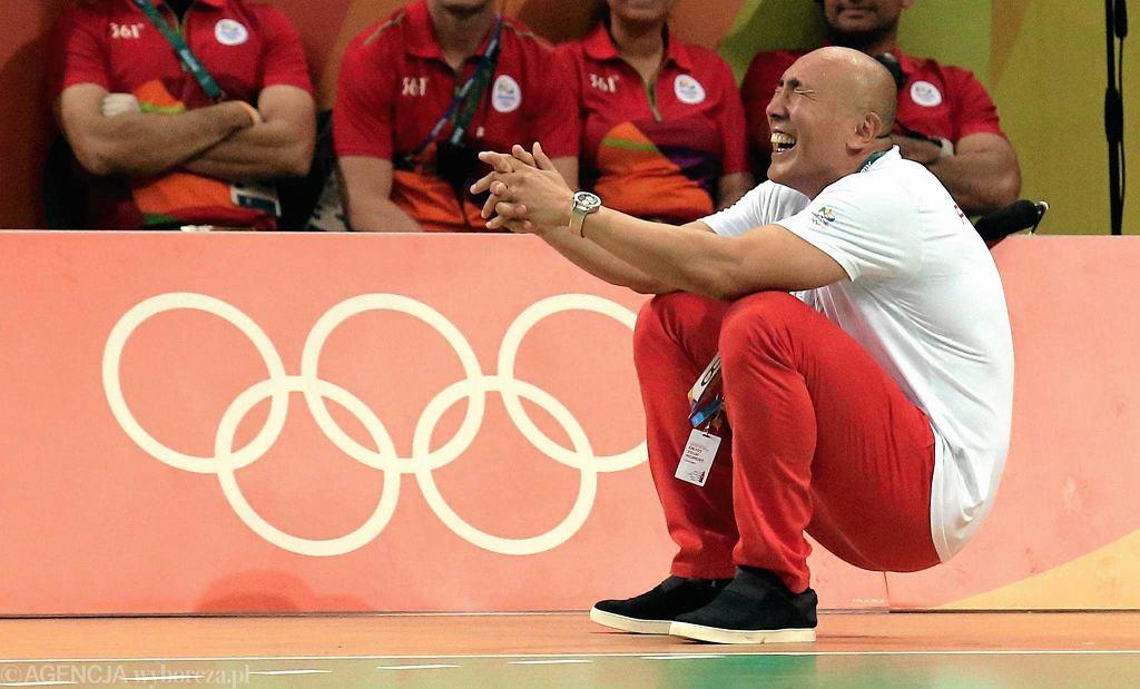 Trener naszych piłkarzy ręcznych Tałant Dujszebajew po zwycięskim meczu w Rio Polska - Chorwacja. Igrzyska olimpijskie w Rio, 17 sierpnia 2016.