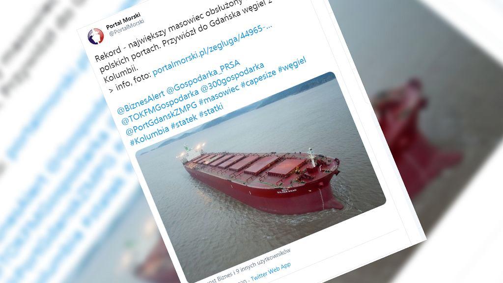 Rekordowo duży statek Agia Trias był w gdańskim porcie