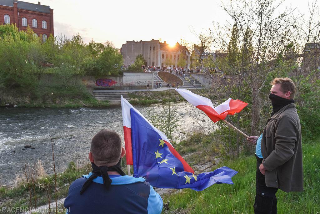 Protest na przejściu granicznym w Gubinie.