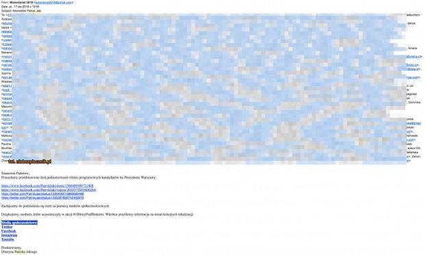 Wyciek adresów e-mail zwolenników Patryka Jakiego