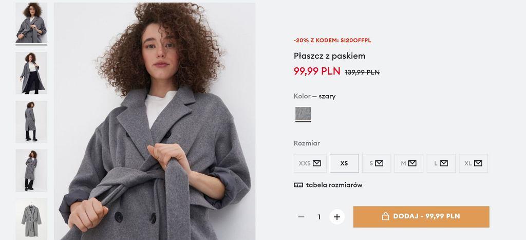 Sinsay wyprzedaje hitowy płaszcz za niecałe 100 zł