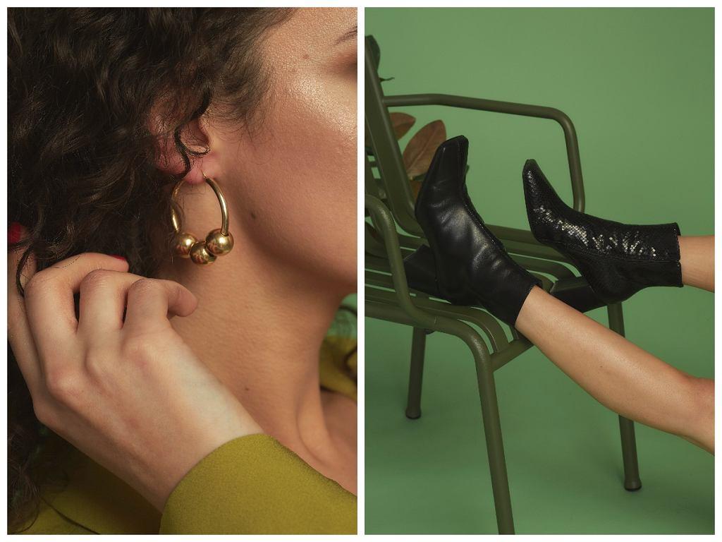 Kolczyki i buty w stylizacji z zieloną marynarką