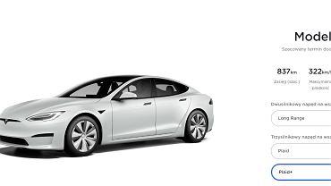 Tesla Model S Plaid+ - konfigurator na stronie producenta