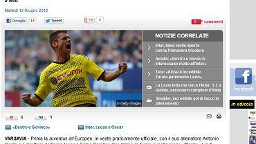 """Informacja o zainteresowaniu Interu Piszczkiem zamieszczona w """"Corriere dello sport""""."""