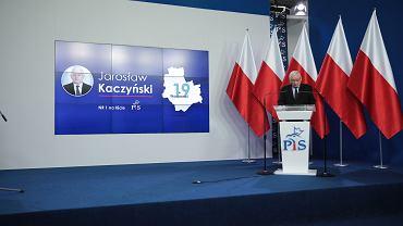 13.07.2019, Warszawa, Jarosław Kaczyński odczytuję listę 41 liderów w nadchodzących wyborach parlamentarnych.