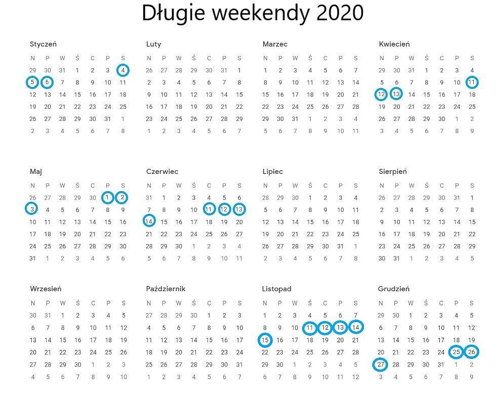 Długie weekendy w 2020 roku