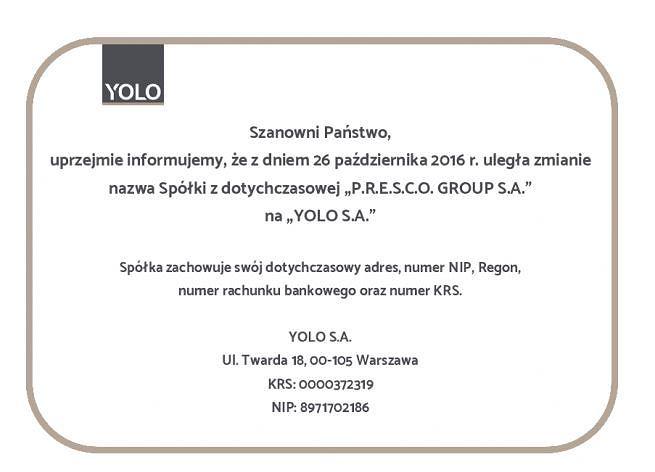 P.R.E.S.C.O. Group S.A. zmienia nazwę na YOLO S.A.