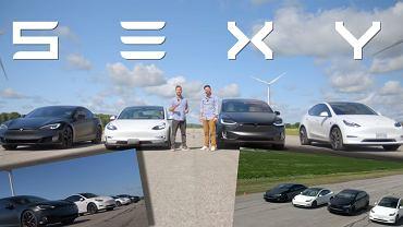 Wyścig równoległy czterech modeli Tesla