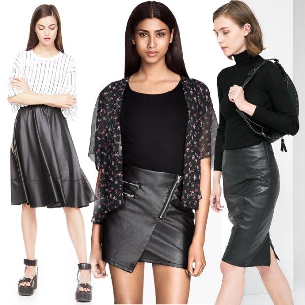 Rozkloszowana Skórzana Mini Spódnica Czarna Spódnice i