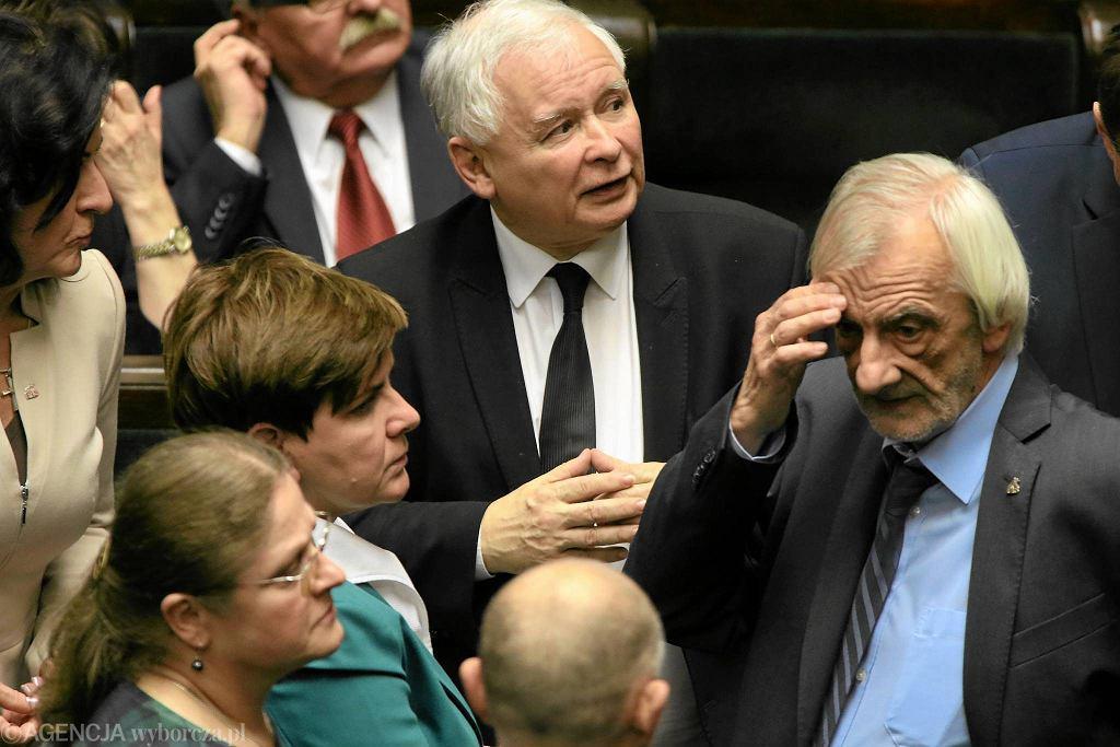 Premier Beata Szydło i Jarosław Kaczyński w Sejmie