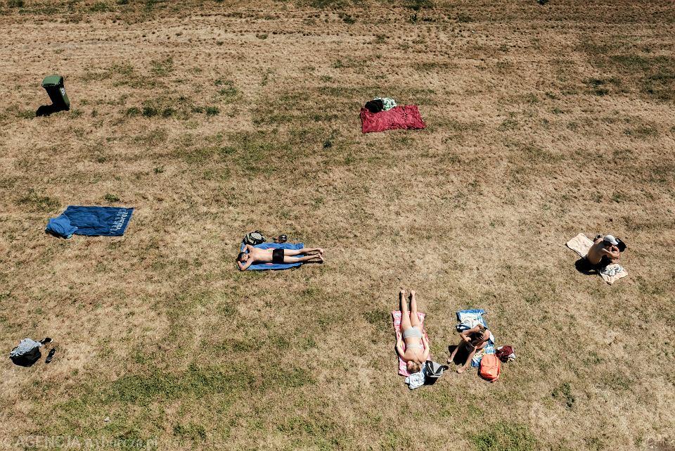 Plażowicze na wyschniętym trawniku  obok basenu 'Chwiałka' w Poznaniu, czerwiec, 2019 r.