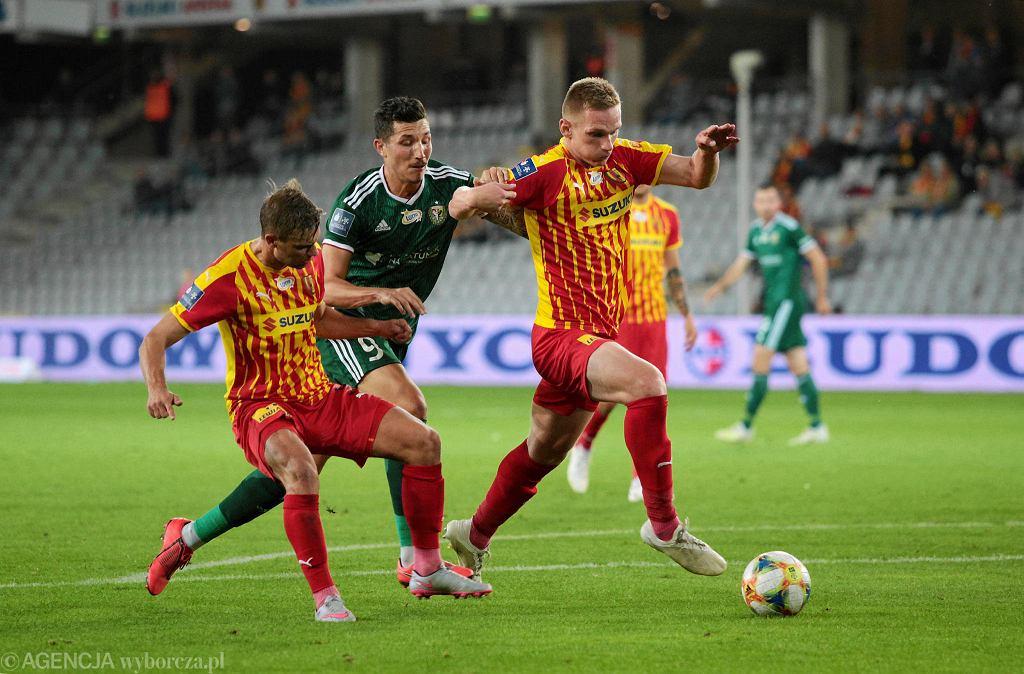 Daniel Dziwniel i Piotr Pierzchała podczas meczu Korona Kielce - Śląsk Wrocław