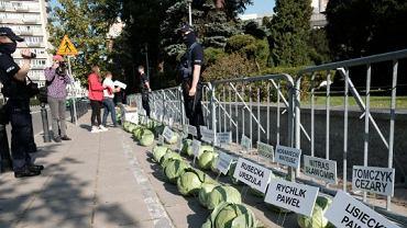 356 główek kapusty przed Sejmem. Protest organizacji rolników przeciwko nowelizacji ustawy o ochronie zwierząt, którą poparło 356 posłów