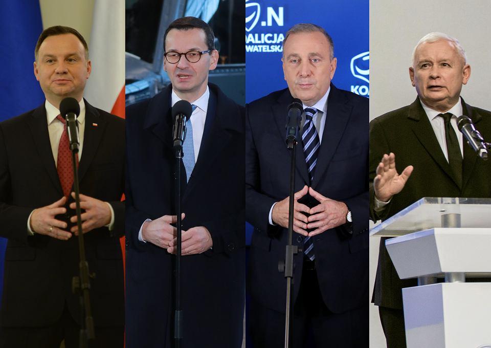 Prezydent RP Andrzej Duda, premier Mateusz Morawiecki, Grzegorz Schetyna i Jarosław Kaczyński.