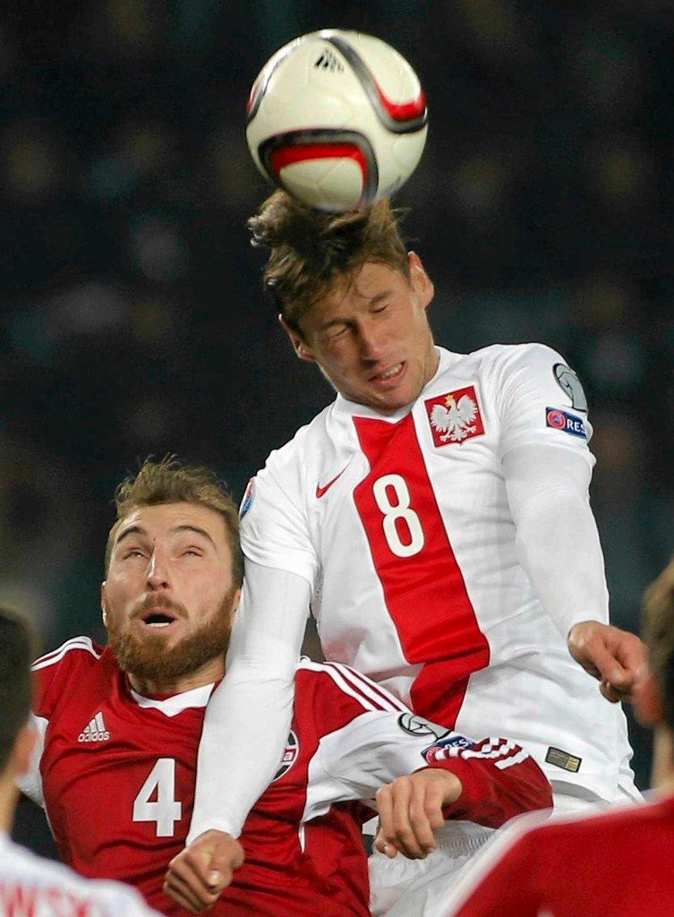 Gruzja - Polska 0:4. Guram Kaszia i Grzegorz Krychowiak