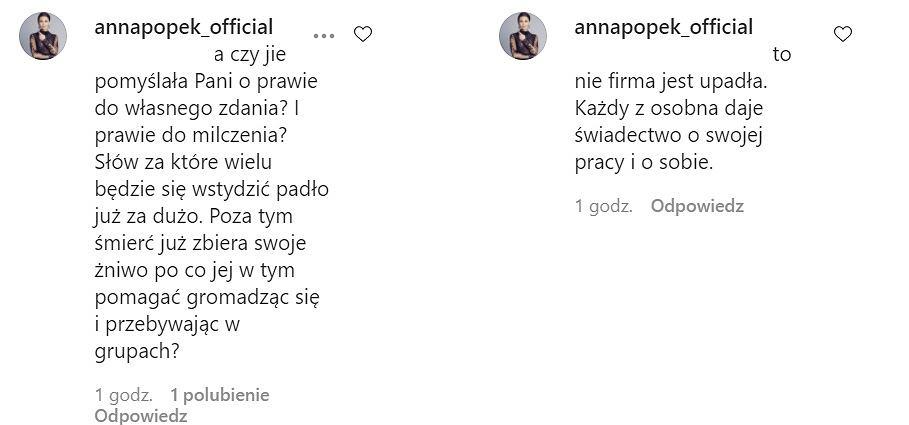 Komentarze Anny Popek