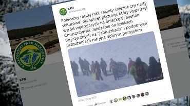 Jeden z turystów na Śnieżce niósł ze sobą dmuchane koło do pływania
