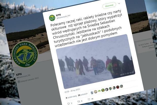 """Poszedł zimą w góry z dmuchanym kołem. Park narodowy ostrzega. """"Polecamy raczej raki"""""""