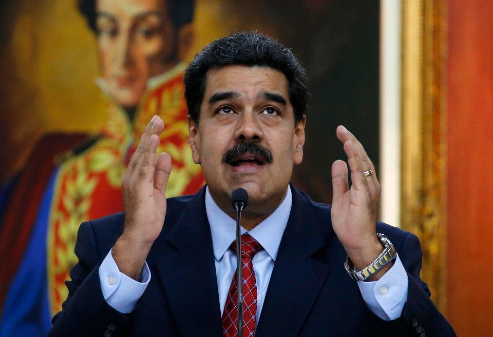 Nieuznawany prezydent Wenezueli Nicolas Maduro podczas konferencji prasowej w pałacu prezydenckim Miraflores, Caracas, 25 stycznia 2019 r.