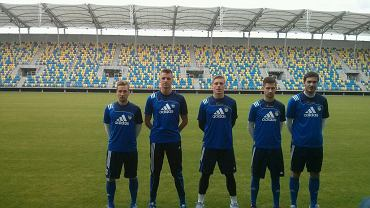 Piłkarze testowani przez Arkę. Od lewej: Arłukowicz, Struski, Skowron, Ciarkowski, Giel