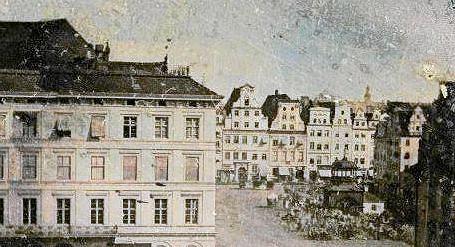 Fragment widoku z dagerotypu z Wielką Wagą na rynku