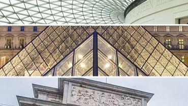 Muzea świata - od góry: Muzeum Brytyjskie, Luwr, Prado