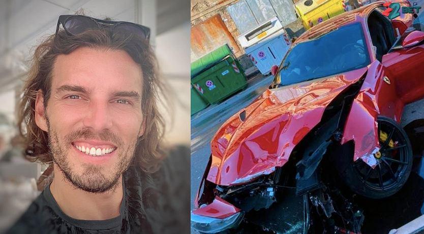 Federico Marchetti (od lewej) oraz jego rozbite Ferrari 812 Superfast. Źródło: Instagram/ Twitter