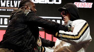 Deontay Wilder (z lewej) i Tyson Fury podczas konferencji prasowej