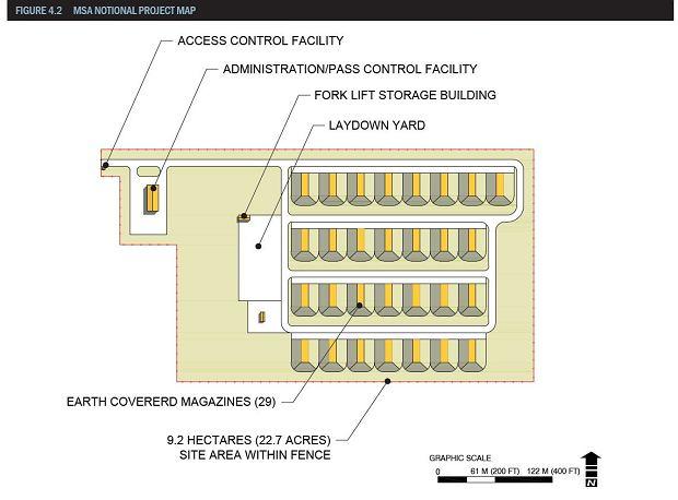 Plan magazynu amunicji w Powidzu
