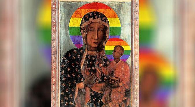 Matka Boska Z Tęczową Aureolą Na Murach Sanktuarium św