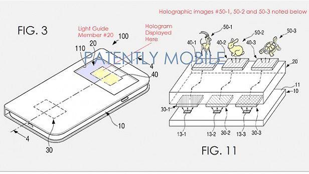Patent przedstawiający wyświetlacz holograficzny