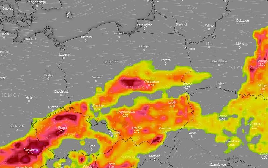 Mapa burzowa Polski na poniedziałek (godzina 17).